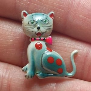 Vintage Tiny hand painted  Blue Cat PinVintage Pin